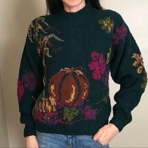 Vintage Wool Blend Fall Pumpkin Green Sweater